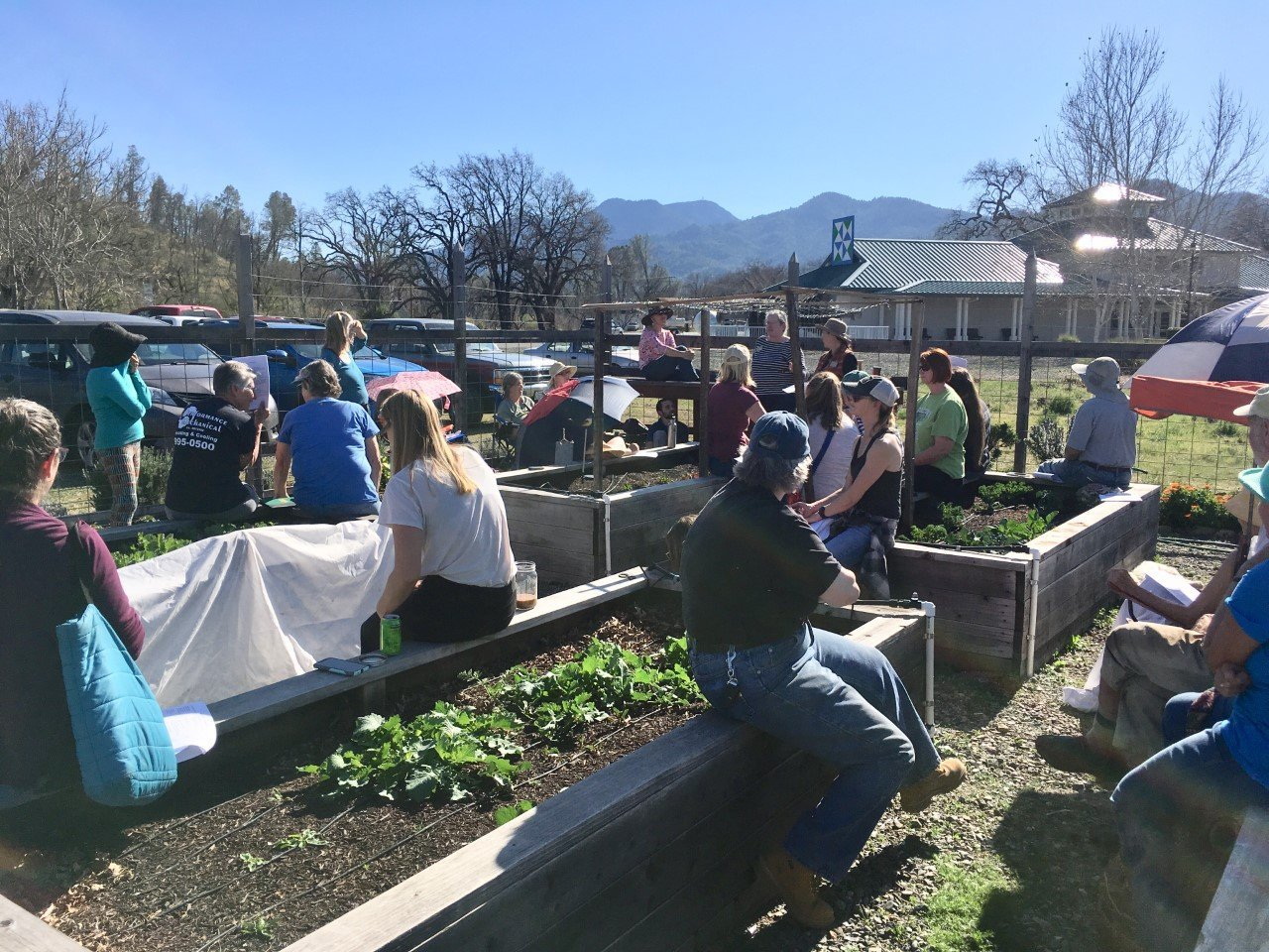 School garden educators and local community gardeners at soil and compost workshop.