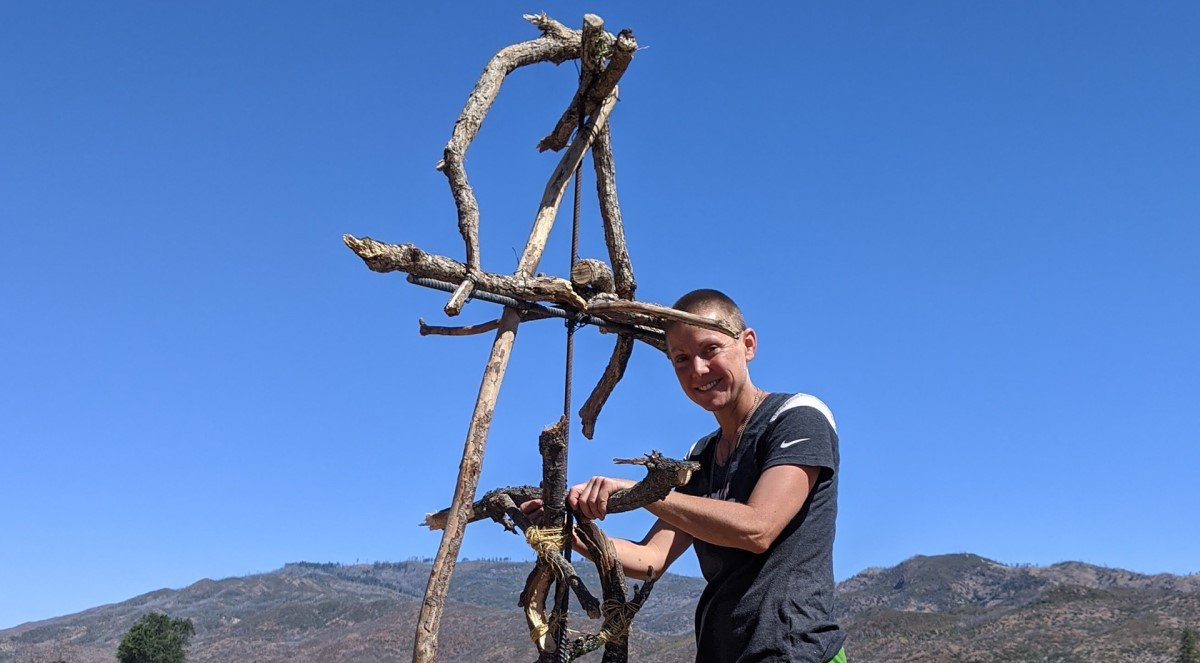 Laura Kennedy with the armature for her Owl at Trailside Park  Photo: MAC Staff